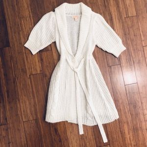 Ivory Sweater Cardigan Midi Length size medium